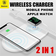 Baseus® 10W Fast Wireless Charger For iPhone XS XR XS Max 2 in 1 Qi Charging Apple Watch and Samsung