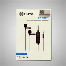 BOYA BY-M1DM Broadcast Omnidirectional Collar Dual-Head Lavalier Reverse Clip-on Wired Mic Microphon