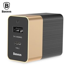 Baseus 15W 3.4A Duke Type-C PD3.0 Dual Output USB Travel Charger