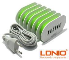 LDNIO A6702 7Amp Auto-ID 6-port USB Wall Travel Charger