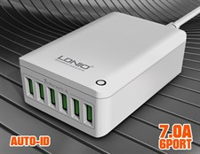 LDNIO® A6703 7Amp 6-Port USB Smart Charger